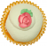 Green Pink Rose Fake Cupcake TOP
