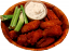 "Buffalo Fake Wings Red Sauce 8"" Wood Basket 12 Chicken Wings"