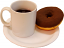 Coffee And Doughnut On Plate