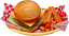 Fake cheeseburger Crinkle Cut Fries basket