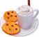 Fake Hot Chocolate Plastic Mug and Chocolate Chip Cookies on Plate