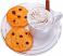 Fake Hot Chocolate Plastic Mug and Chocolate Chip Cookies on Plate top