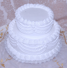 White two tier Stacked Fake Wedding Cake with Lace 12 Inch USA