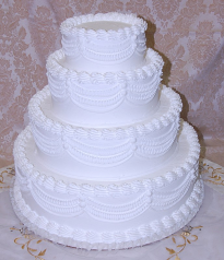 White Four tier Stacked Wedding Fake Cake with Lace 20 Inch USA