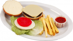 Cheeseburger and French Fries Plate USA