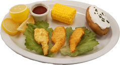 Fake Fried Shrimp Plate With Corn Cob U.S.A.