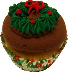 Christmas Wreath Chocolate Fake Cupcake USA