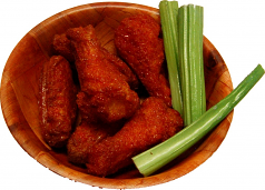"Buffalo Fake Wings Red Sauce 6"" Wood Basket 6 Chicken Wings Artificial Food U.S.A."