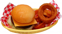 Cheeseburger and onion rings Basket USA