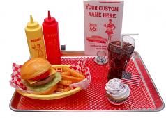 Car Hop Fake Food Tray Cheeseburger Set U.S.A.