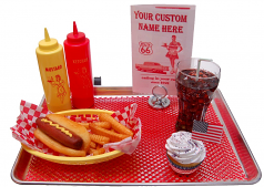 Car Hop fake food Tray Hot Dog Wiener