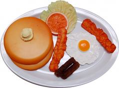 Breakfast Plate Fake Eggs, Sausage, Bacon and Pancakes USA