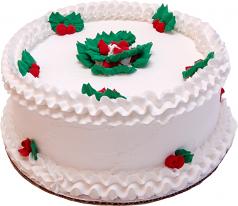 "9"" Christmas Vanilla Holly Fake Cake USA"
