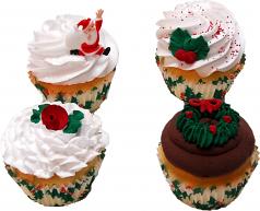 Christmas Cupcake Assortment Fake Cupcakes 4 Pack USA