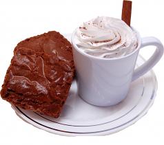 Fake Hot Chocolate Plastic Mug and Brownies on Plate USA