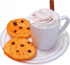 Fake Hot Chocolate Plastic Mug and Chocolate Chip Cookies on Plate USA