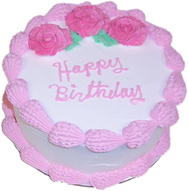 Pink Birthday Cake 9 Inch With Happy Birthday Text High Quality