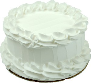 White Plain Fake Cake 6 inch Blank USA
