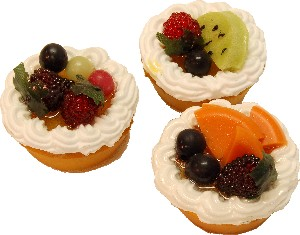 Fruit Fake Tarts 2 inch Assorted 3 pack USA
