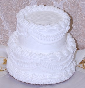 White Two Tier Stacked Wedding Fake Cake 7 Inch Wedding
