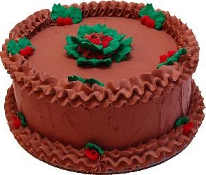 """9"""" Christmas Chocolate Holly Fake Cake USA"""