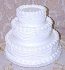 White Three tier Stacked Fake Wedding Cake with Lace 16 Inch USA