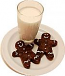 Milk and Two Gingerbread Cookies on Plate USA