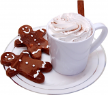 Fake Hot Chocolate Plastic Mug and Gingerbread Cookies on Plate USA