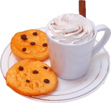 Fake Hot Chocolate Plastic Mug and Chocolate Chip Cookies on Plate USA