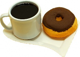 Fake Coffee Melamine Mug and Doughnut on Plate USA