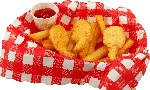 Fake Fried Shrimp and Fries in Basket USA