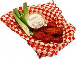 Buffalo Fake Wings Red Sauce In Basket 6 Chicken Wings Artificial Food U.S.A.
