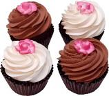 Chocolate Rose Fake Cupcake 4 Pack Assortment