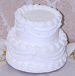 White Two tier Stacked Wedding Fake Cake 7 Inch USA
