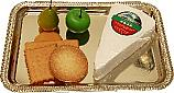 Brie Wedge Cheese and Crackers with Metal Rectangle Tray Fake Food U.S.A.